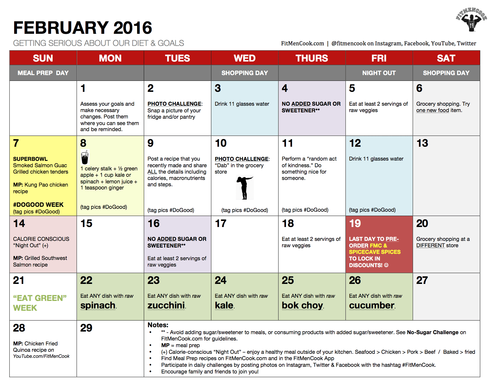 FEBRUARY 2016 HEALTHY CHALLENGE CALENDAR