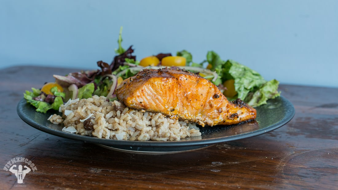 Healthy Colombian Coconut Rice With Salmon Salad