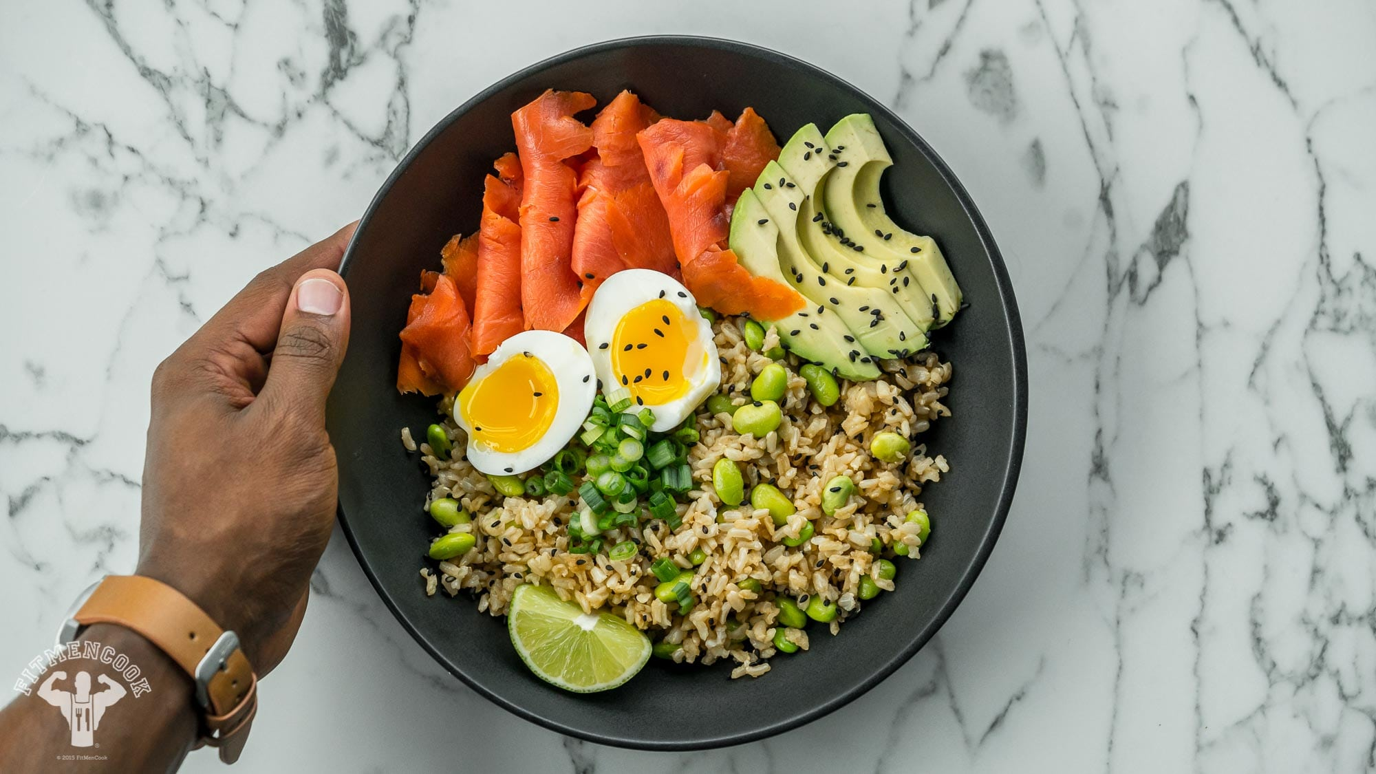 90790bd6935d Smoked Salmon Brown Rice Bowl Recipe - Fit Men Cook