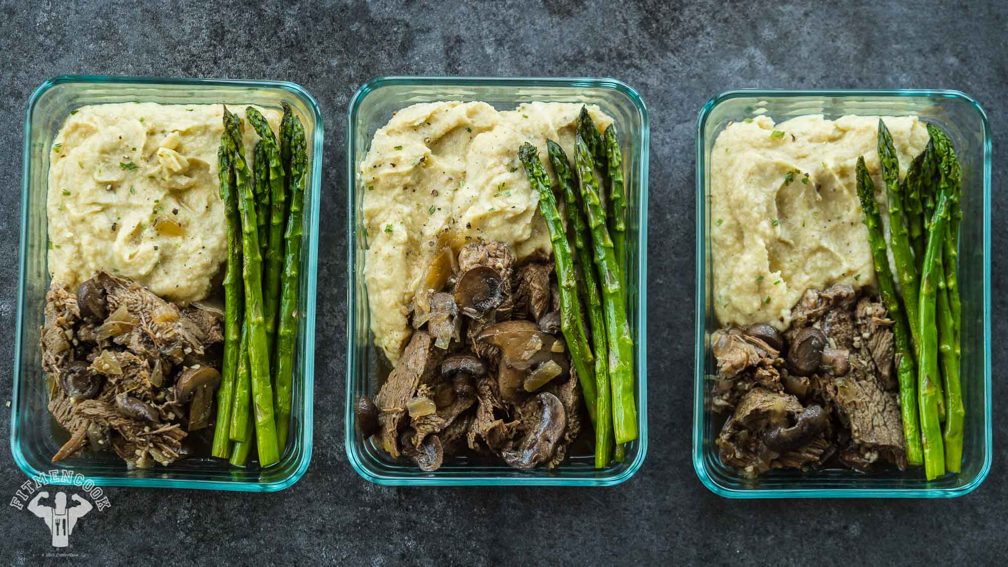 Paleo Prep - Bison Roast, Whipped Parsnips Asparagus