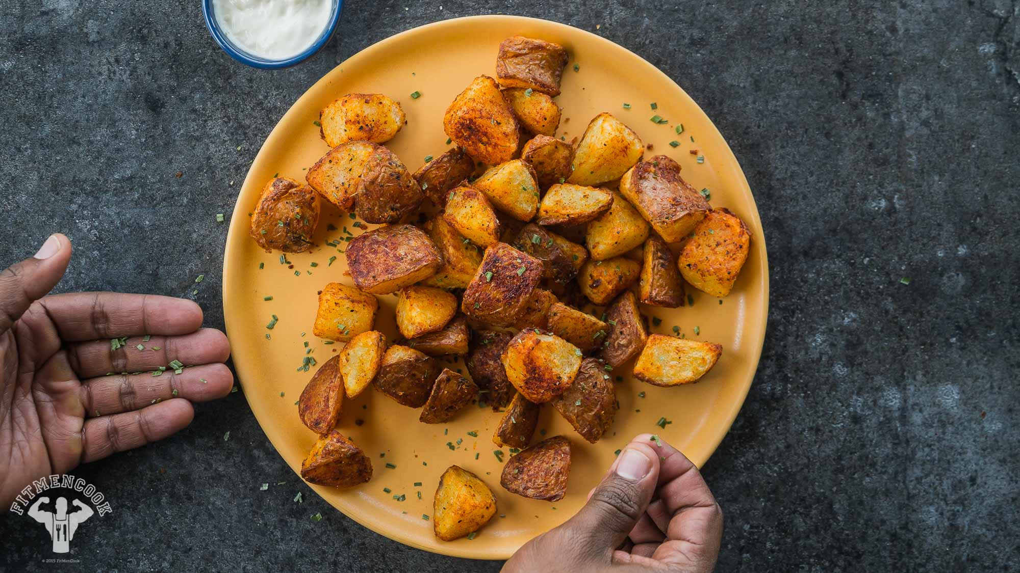air fried patatas bravas