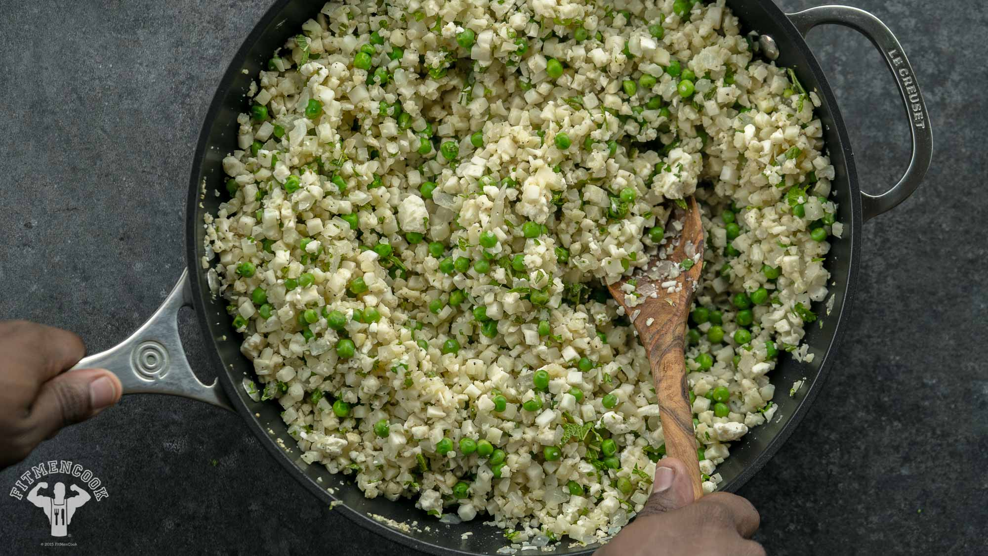Low Carb Israeli Couscous with Peas & Mint