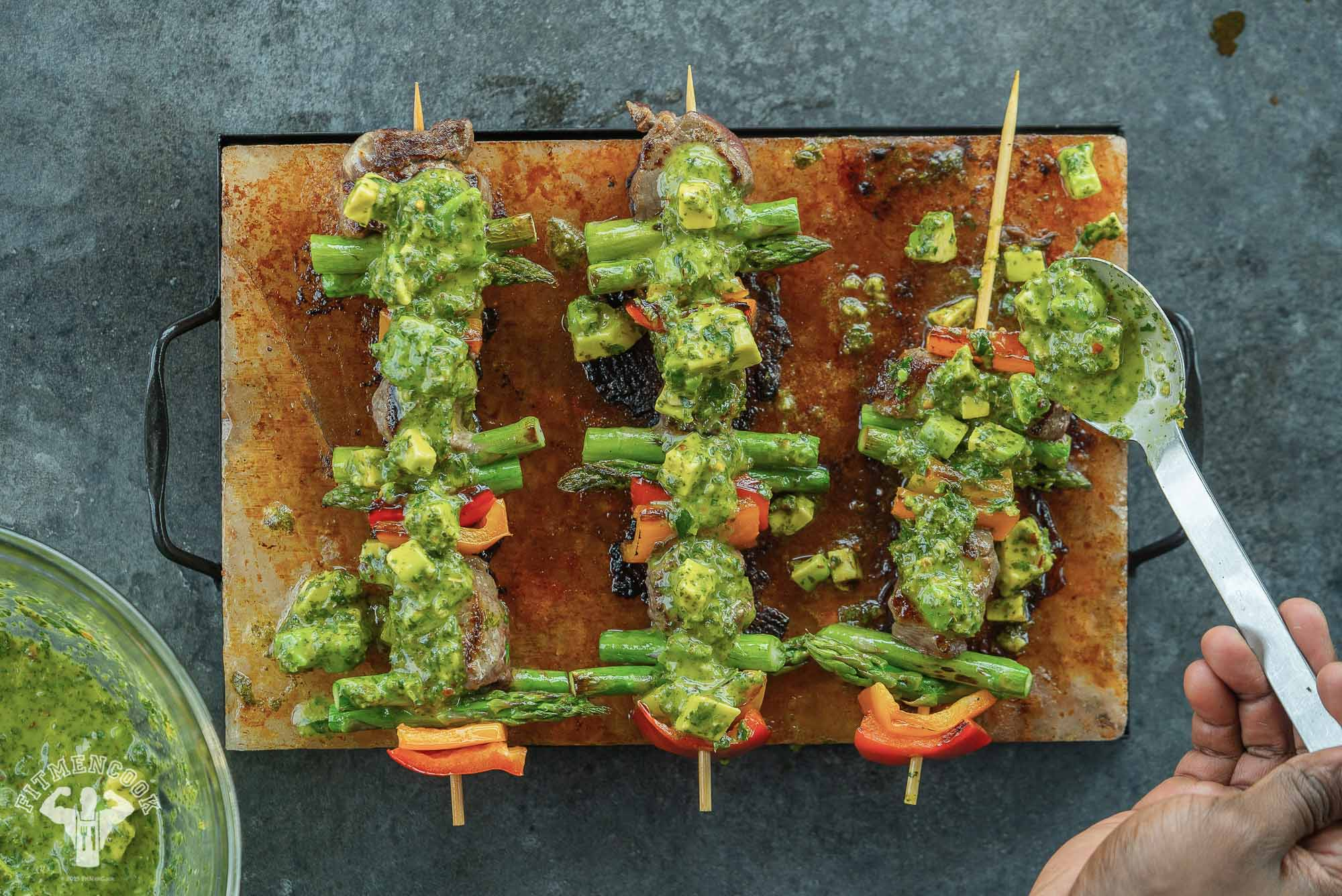 beef kebab with avocado chimichurri