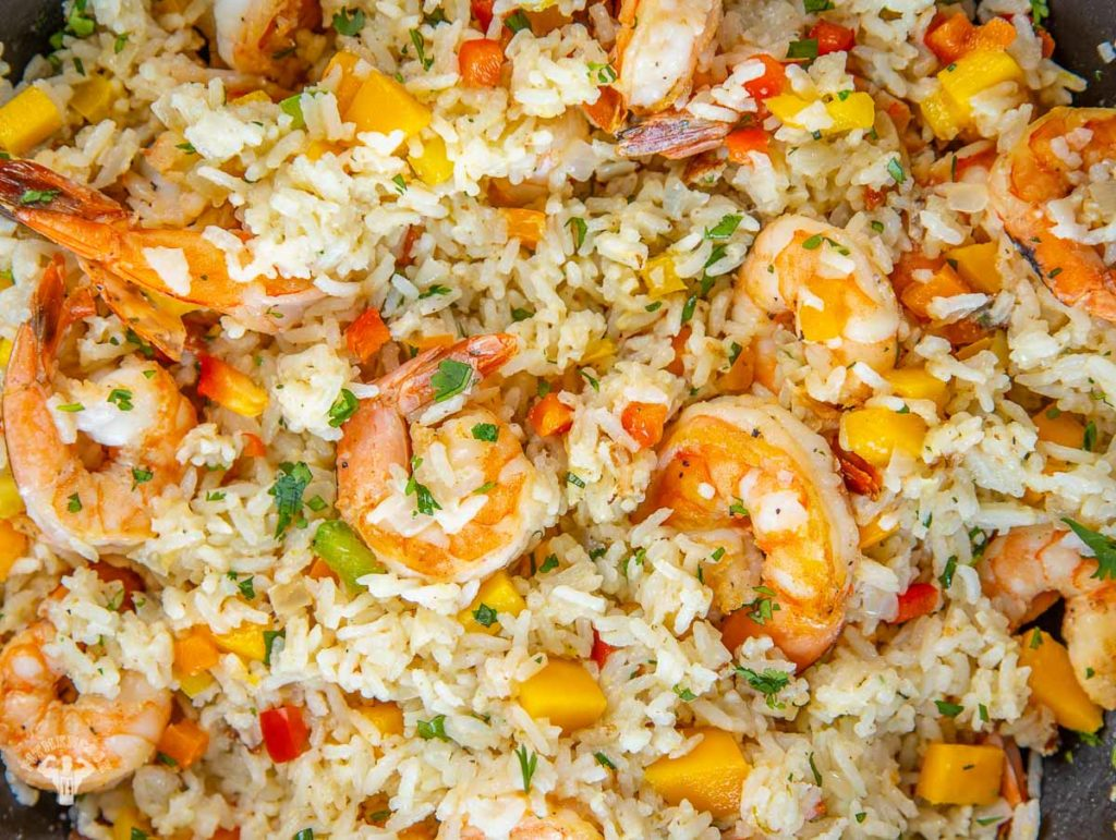 Shrimp & Coconut Rice with Mango
