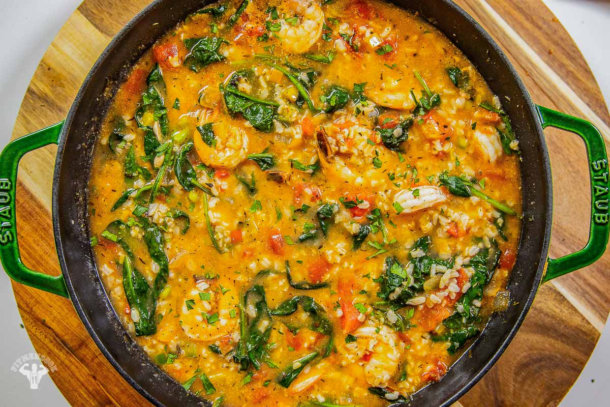 Mediterranean Tomato Shrimp & Rice Soup