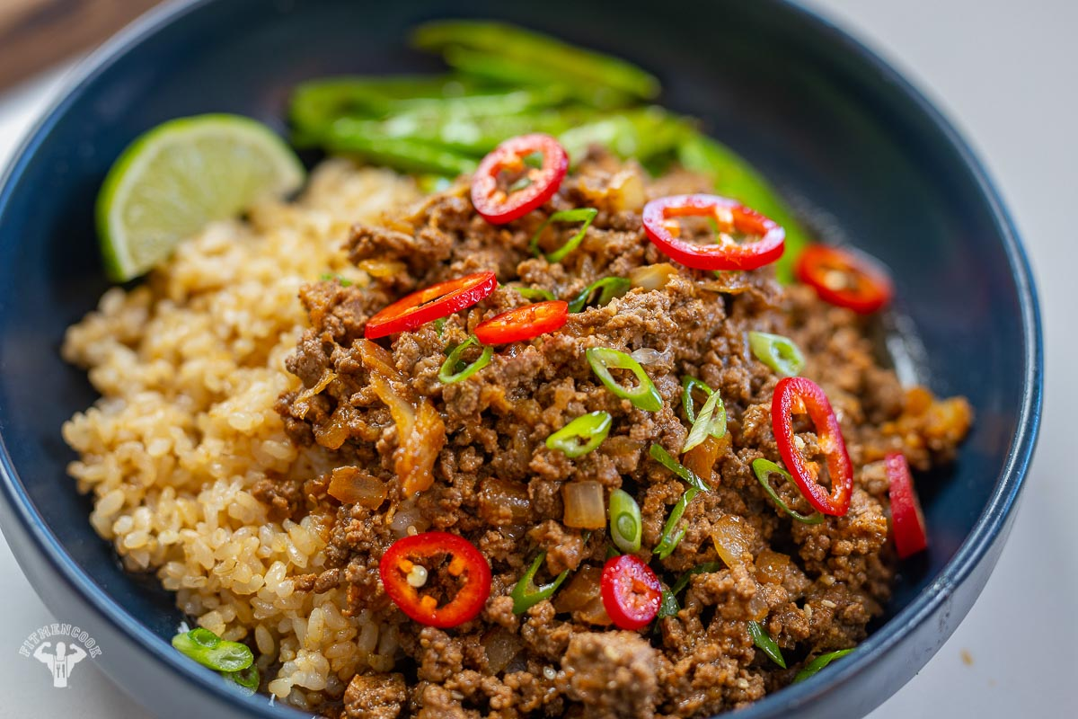 Korean beef and rice with sugar snap peas