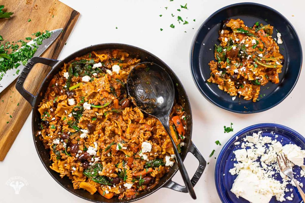 One Pot Mediterranean Lamb Pasta