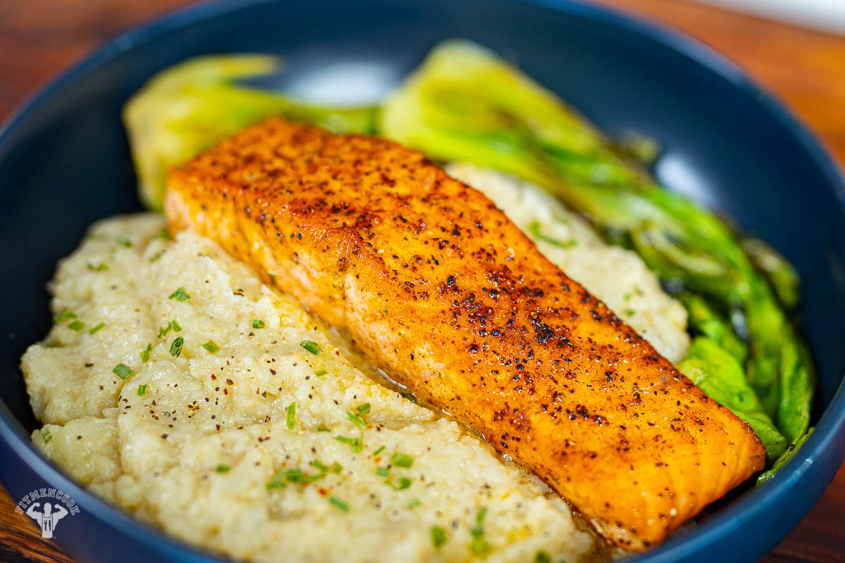 salmon & cauliflower mash with bok choy