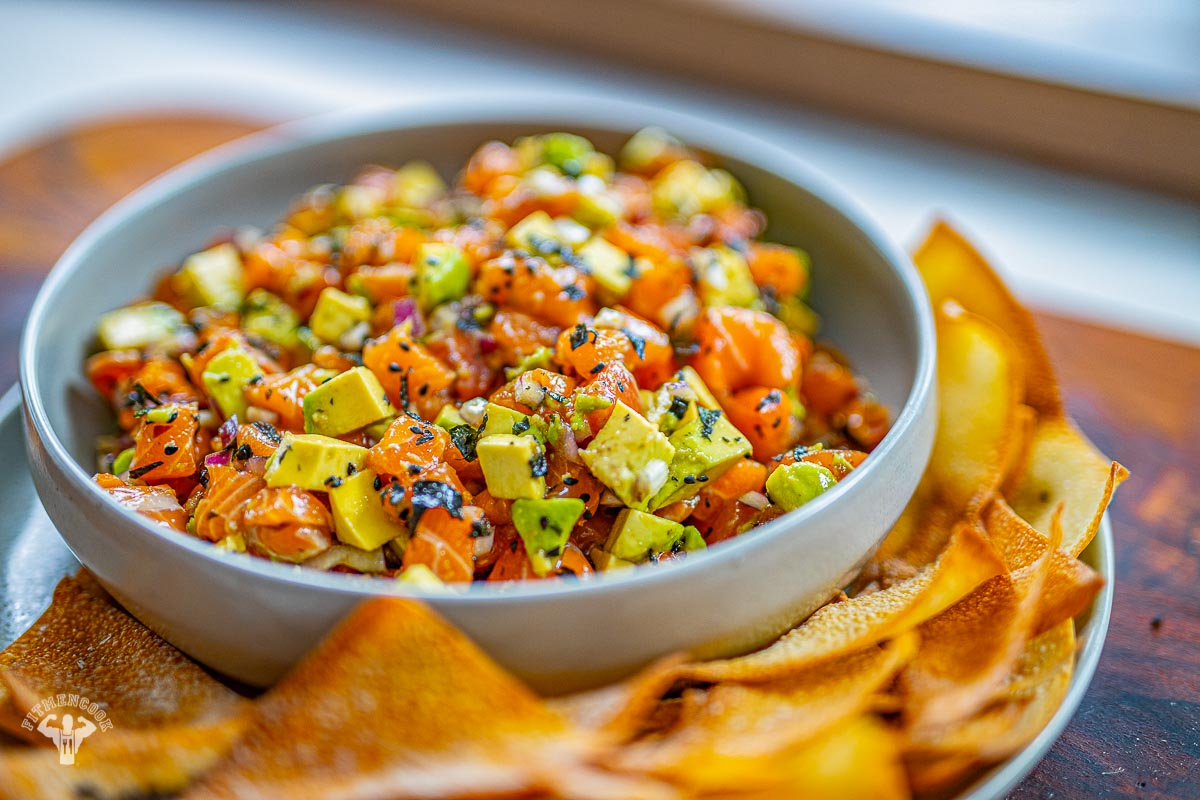 Salmon Poke with wonton chips