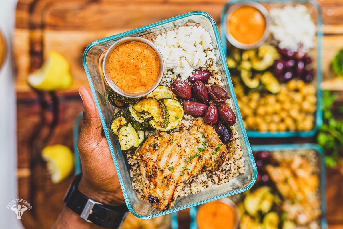 Mediterranean Diet Roasted Red Pepper Chicken Lunchbox